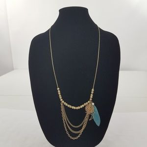 Boho Necklace Gold Tone Chain Filigree Feather Bir